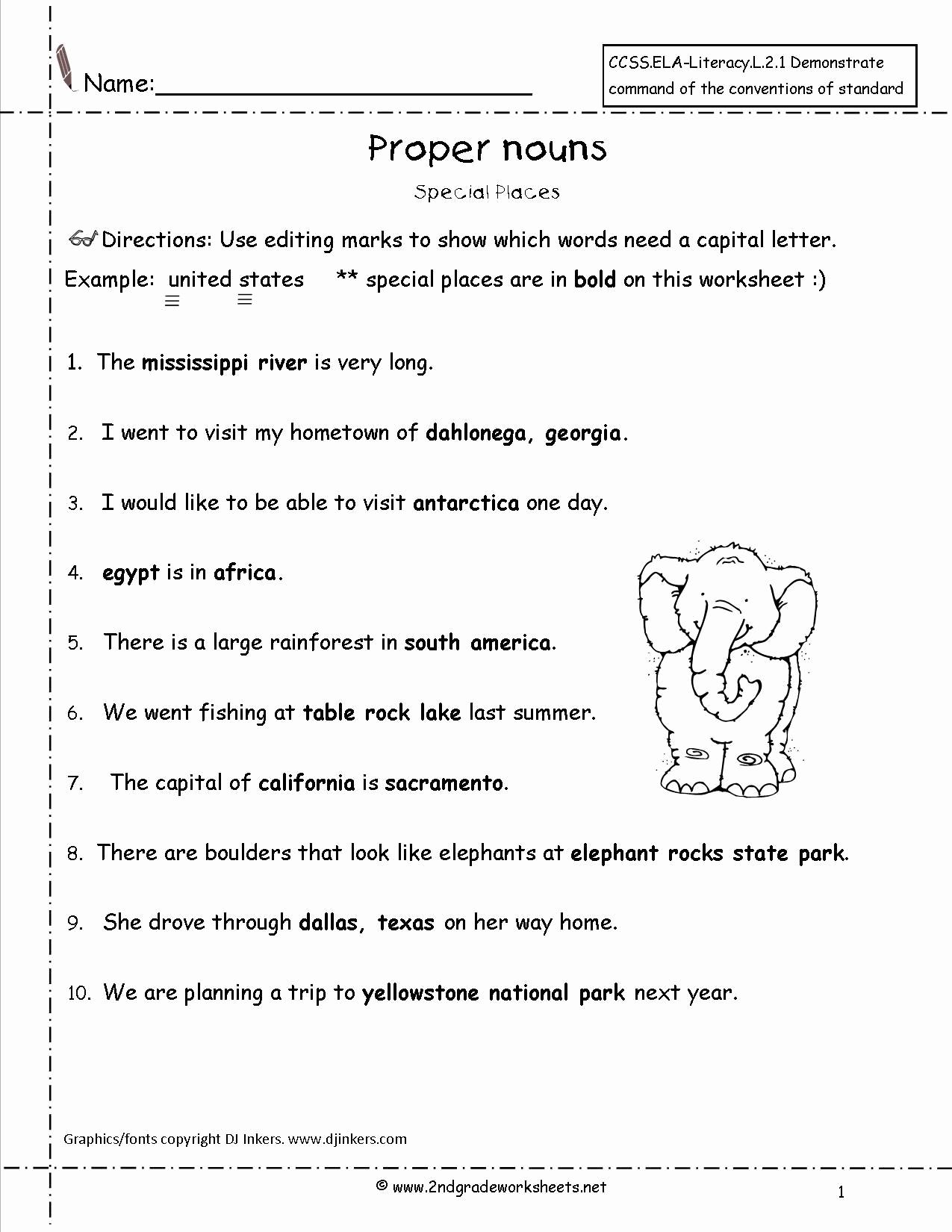Free Proper Noun Worksheets Best Of Proper Nouns Worksheet