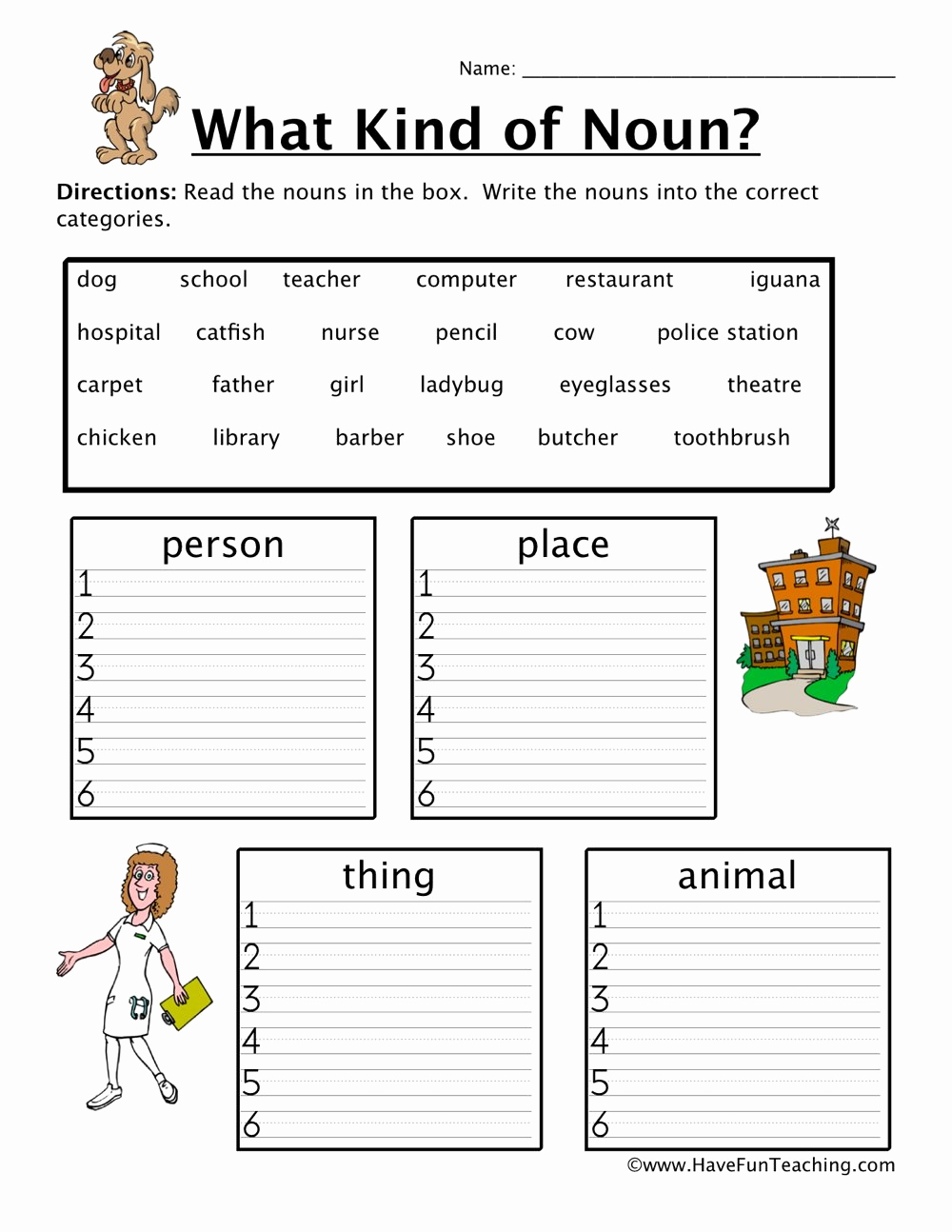 Free Proper Noun Worksheets Inspirational Noun Worksheets