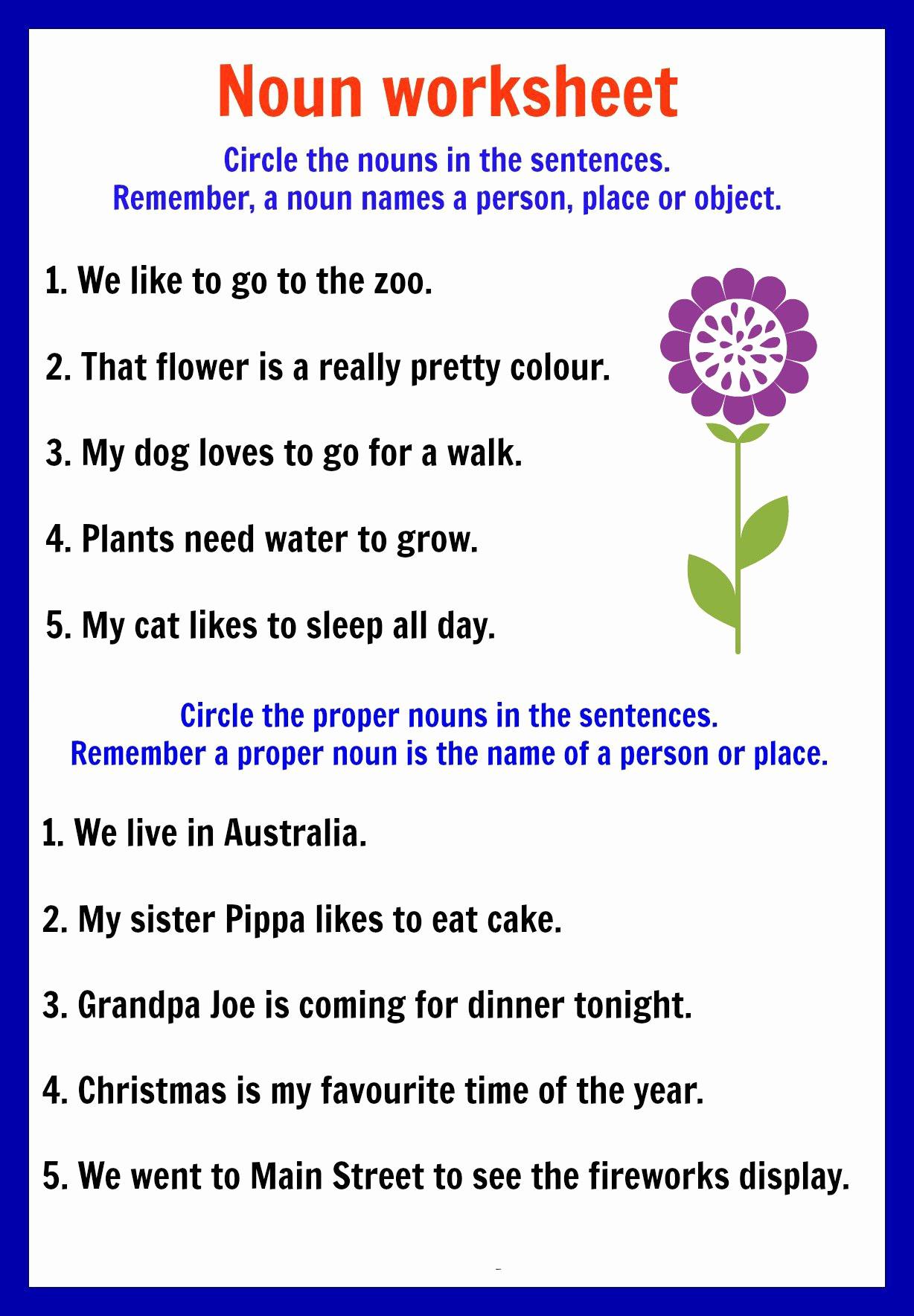 Free Proper Noun Worksheets Inspirational Proper Nouns Worksheets for Kindergarten