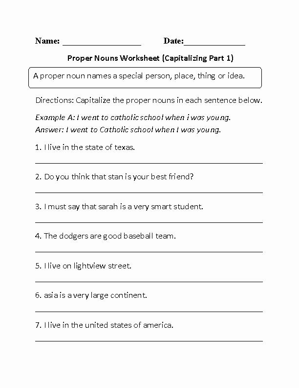 Free Proper Noun Worksheets Luxury Printable Mon and Proper Nouns Free Worksheets