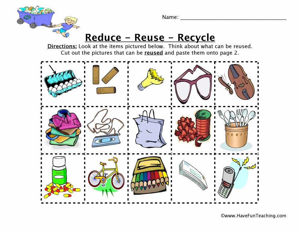 Free Recycling Worksheets Beautiful Reduce Reuse Recycle Worksheet