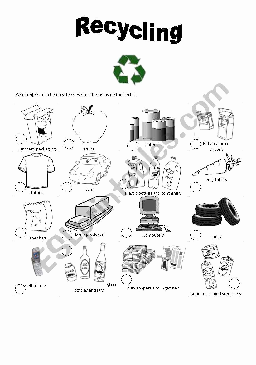 Free Recycling Worksheets Best Of Recycling Esl Worksheet by Cacucacu