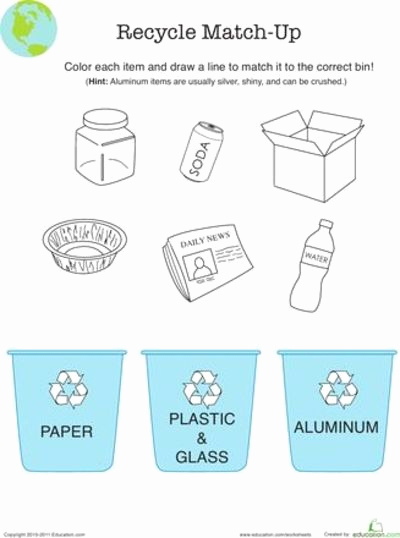 Free Recycling Worksheets Best Of Worksheets Recycle Match Up Preschool Items Juxtapost