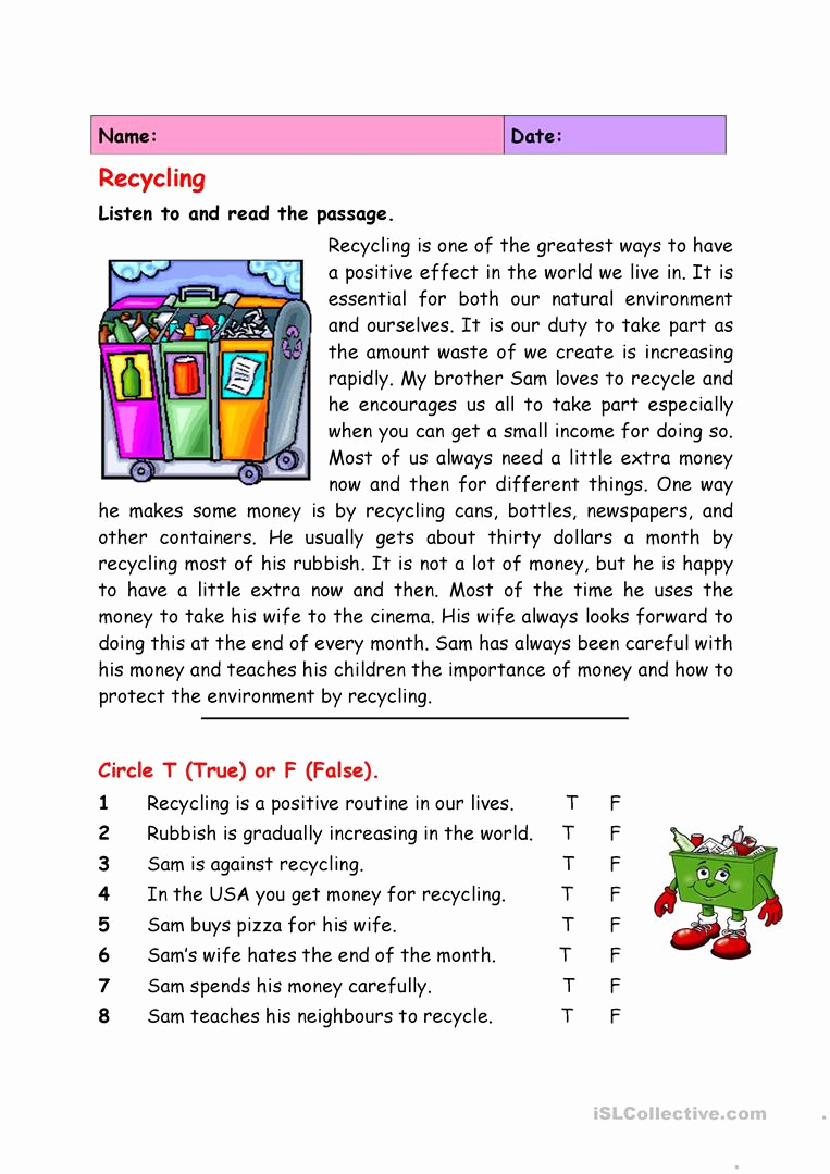 Free Recycling Worksheets Elegant Recycling English Esl Worksheets for Distance Learning