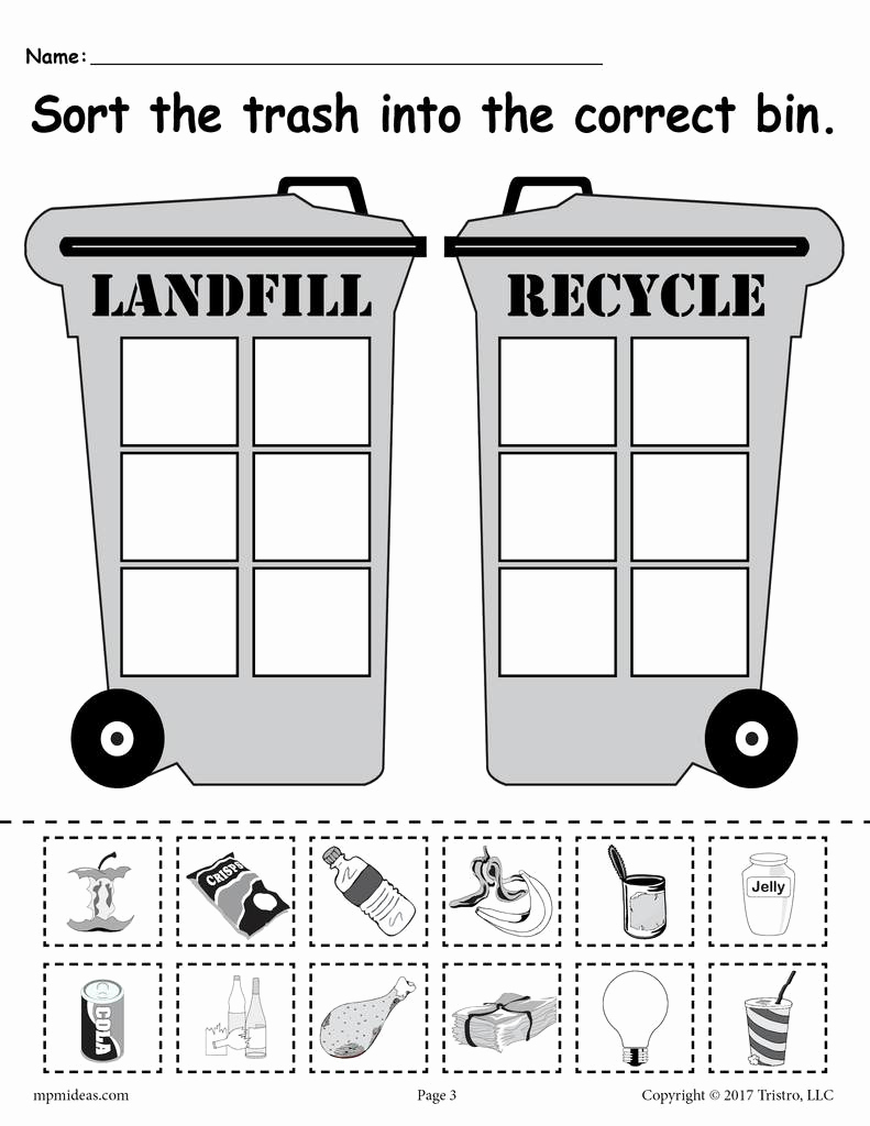 Free Recycling Worksheets Inspirational sorting Trash Earth Day Recycling Worksheets 4 Free