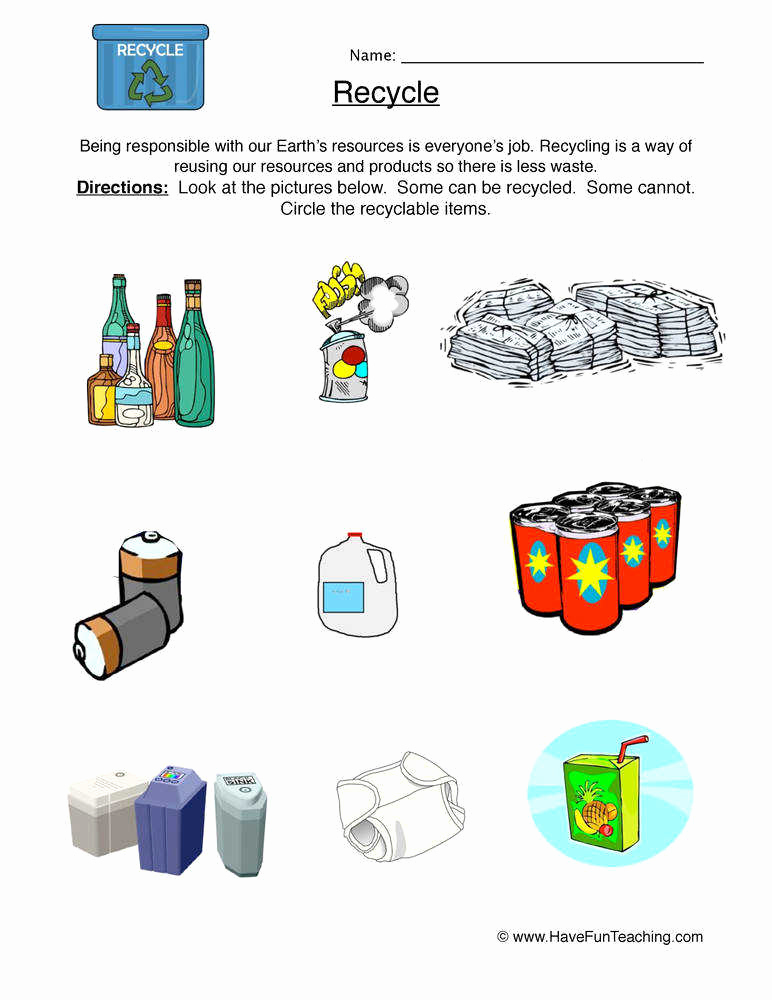 Free Recycling Worksheets Luxury Recycling Worksheets