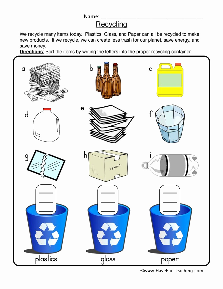 Free Recycling Worksheets New 30 Recycling Worksheet for Kids Free Worksheet Spreadsheet