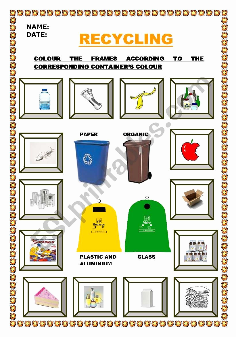 Free Recycling Worksheets New Let´s Recycle Esl Worksheet by Escolapia