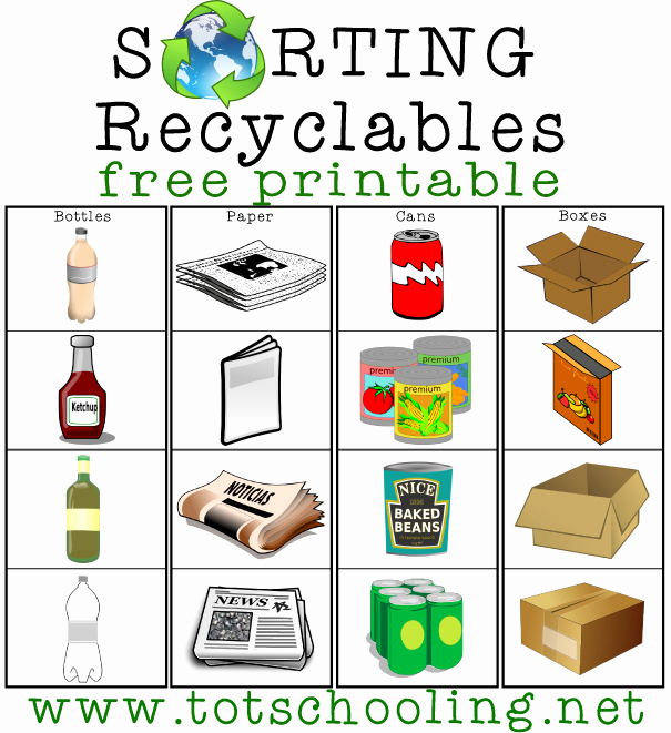 Free Recycling Worksheets New sorting Recyclables Free Printable
