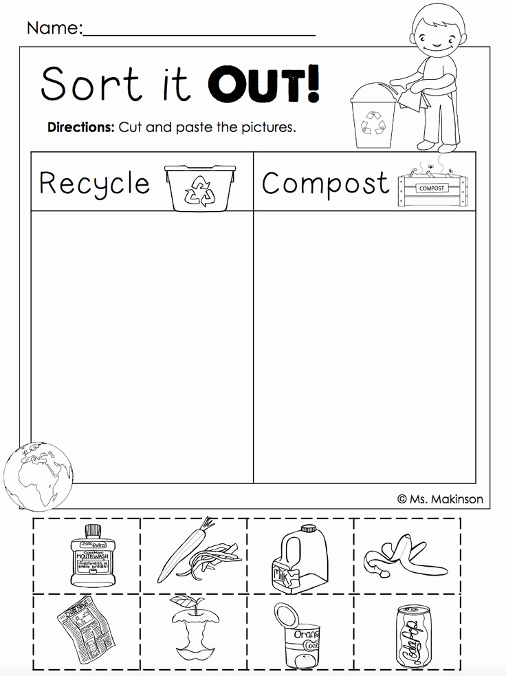 Free Recycling Worksheets Unique Free Earth Day Printables Recycling and Post Cut