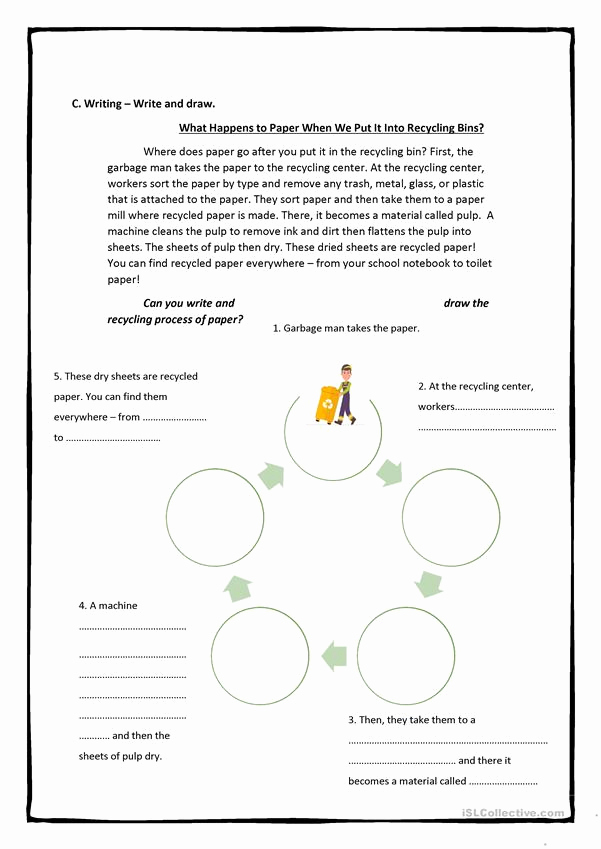 Free Recycling Worksheets Unique Recycling Reusing 4 Pages Full Worksheet Worksheet