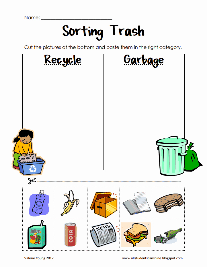 Free Recycling Worksheets Unique sorting Trash