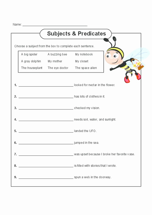 Free Subject and Predicate Worksheets Beautiful Free Printable Subject Predicate Worksheets 2nd Grade
