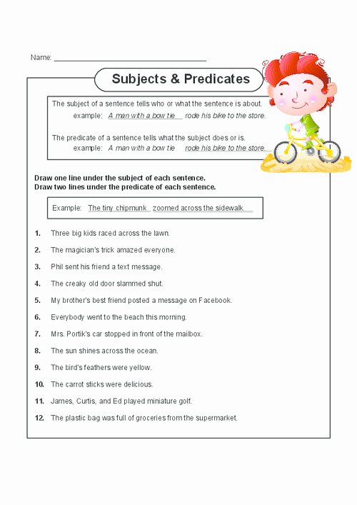 Free Subject and Predicate Worksheets Best Of Help Your Child Master Subject and Predicates with This