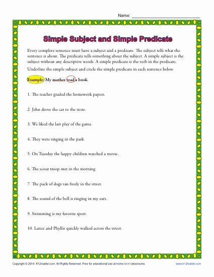 Free Subject and Predicate Worksheets Elegant Simple Subject and Simple Predicate