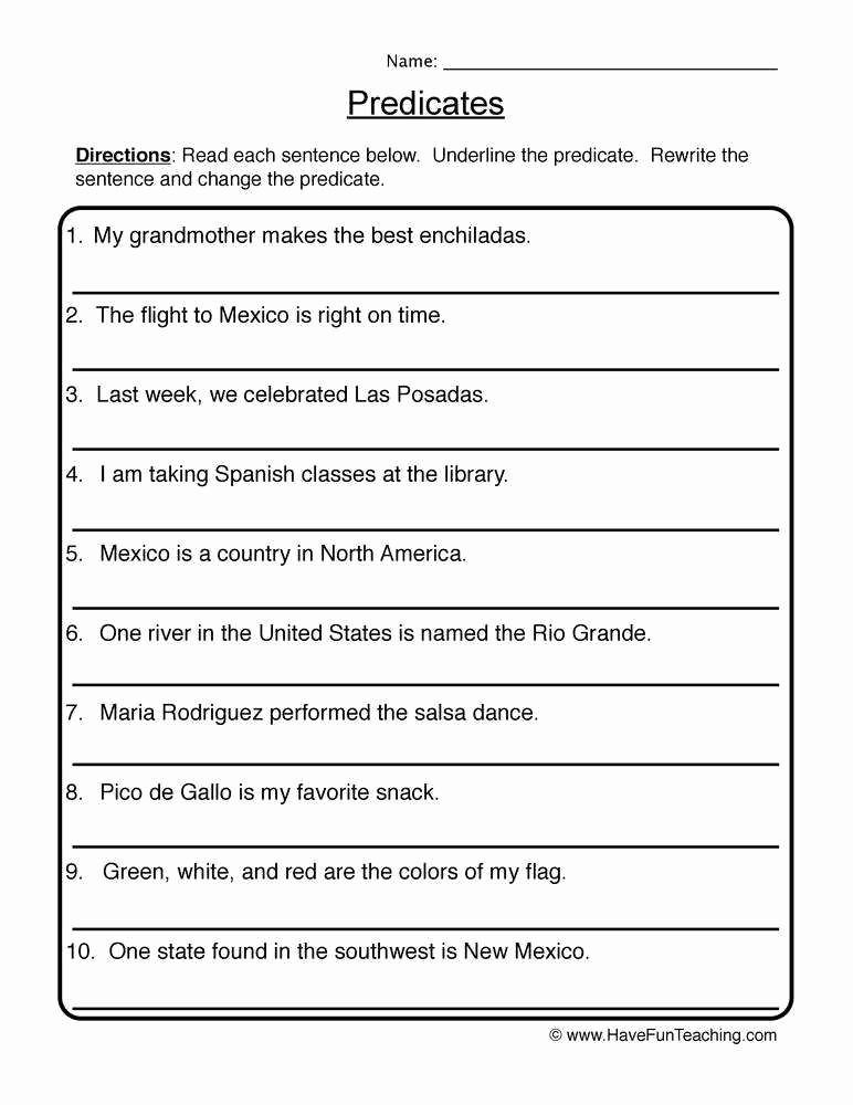 Free Subject and Predicate Worksheets Fresh Subject and Predicate Worksheet