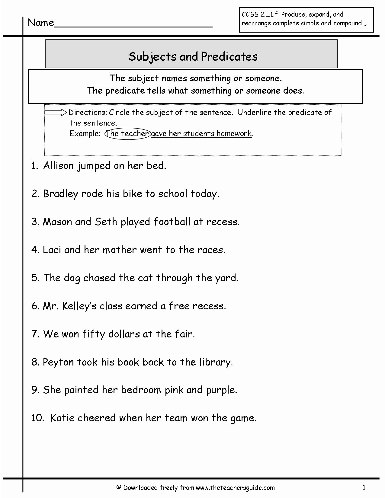 Free Subject and Predicate Worksheets Lovely Subject and Predicate Worksheet More