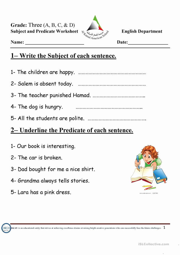 Free Subject and Predicate Worksheets Luxury Subject and Predicate English Esl Worksheets for
