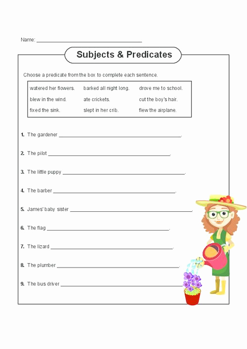 Free Subject and Predicate Worksheets New Subject and Predicate Practice