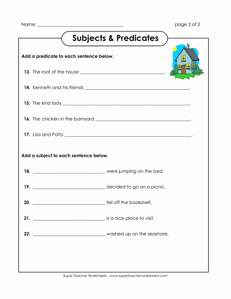 Free Subject and Predicate Worksheets New Subjects & Predicates Super Teacher Worksheets