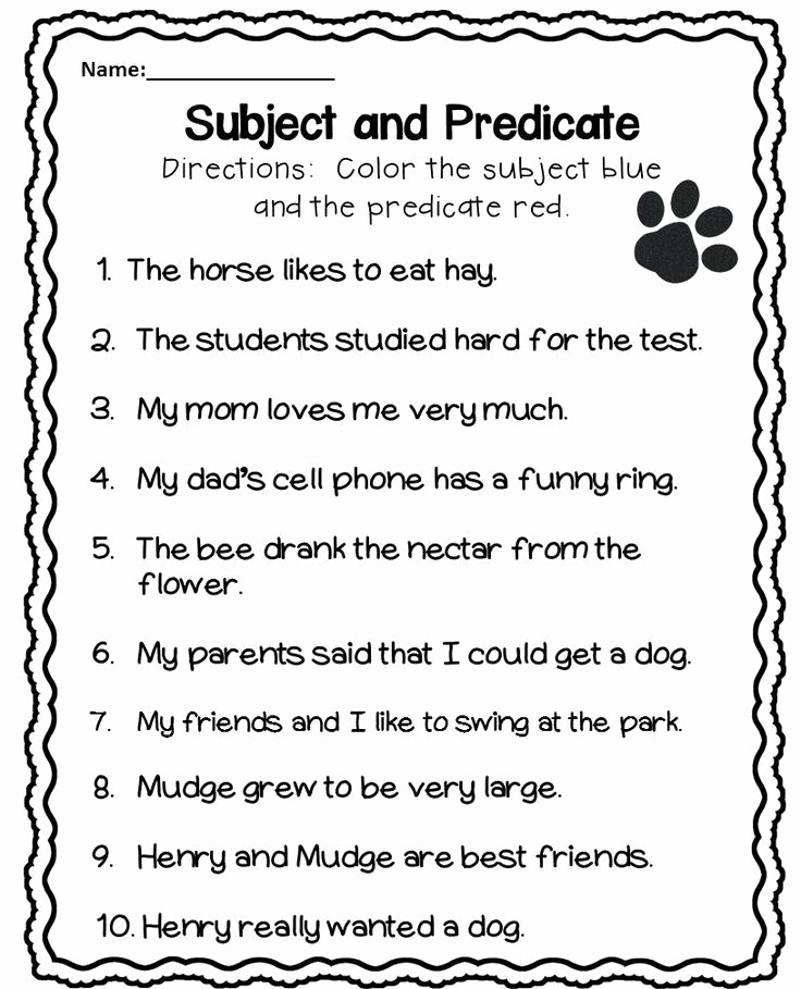 Free Subject and Predicate Worksheets Unique Subject and Predicate Worksheet