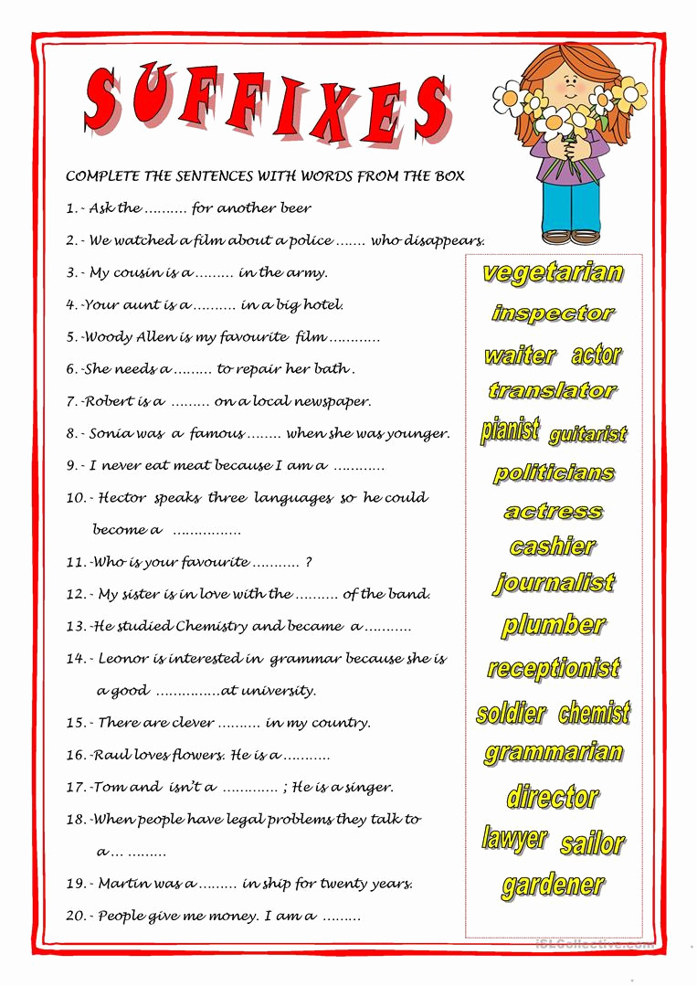 Free Suffix Worksheet Best Of Suffixes Worksheet Free Esl Printable Worksheets Made by