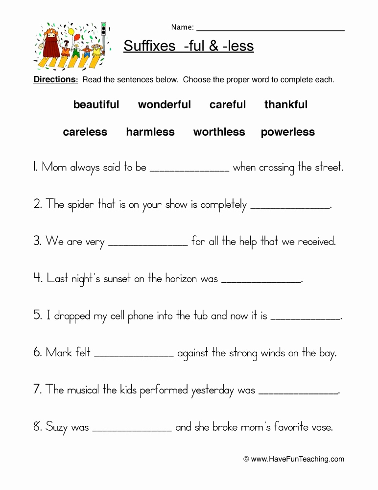 Free Suffix Worksheet Elegant Suffixes Worksheets