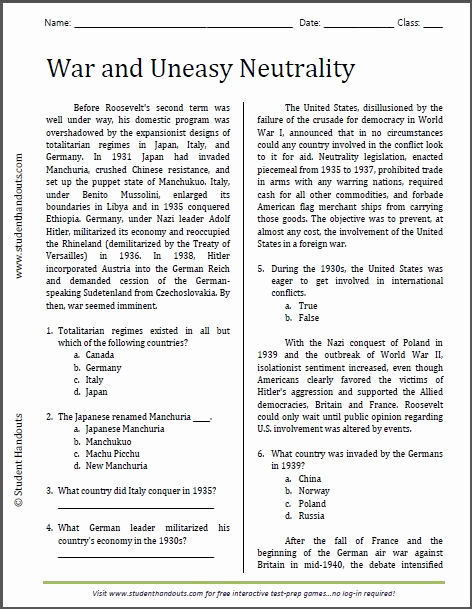 Free Us History Worksheets Awesome War and Uneasy Neutrality Reading Worksheet