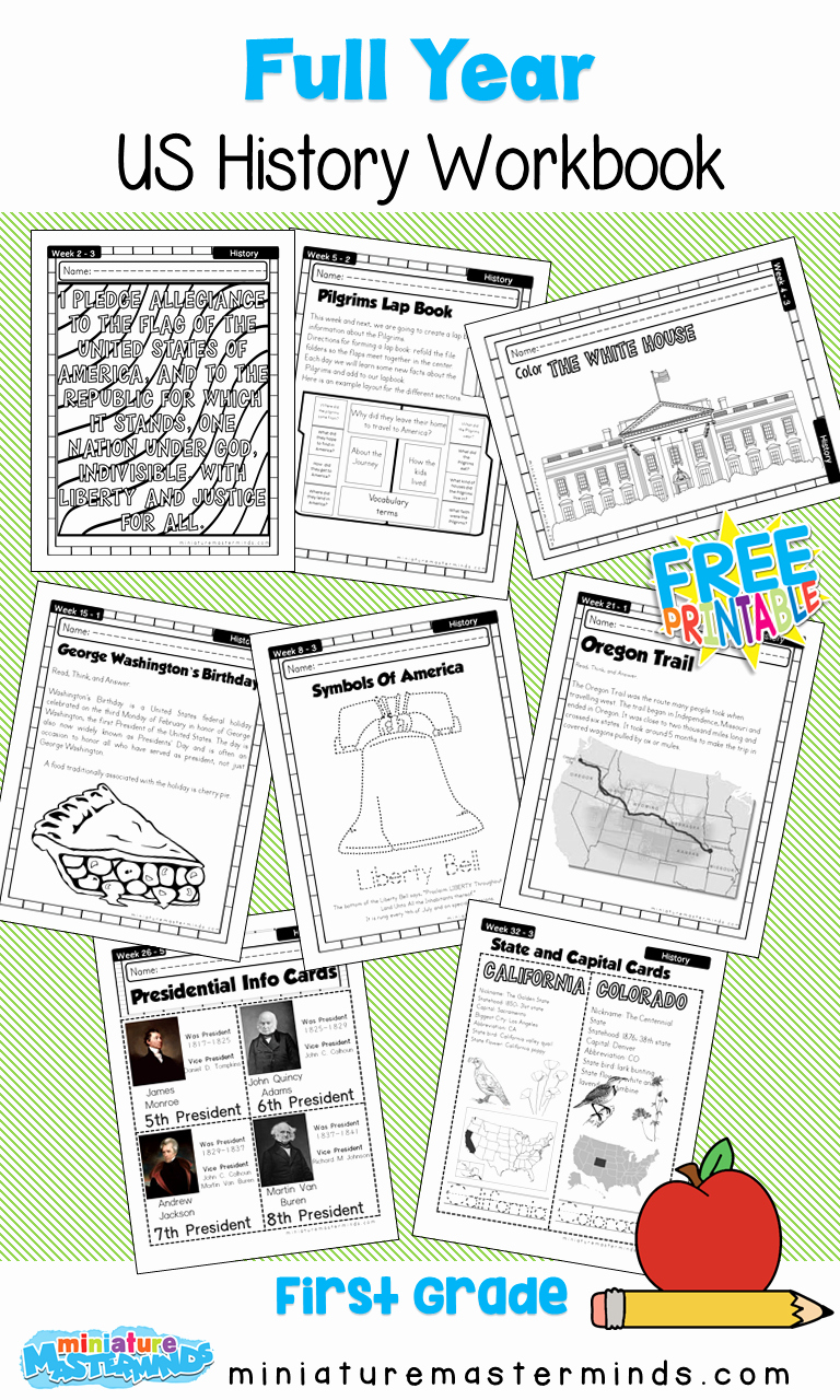 Free Us History Worksheets Lovely American History Work Book Ages 6 to 8 Free Printable