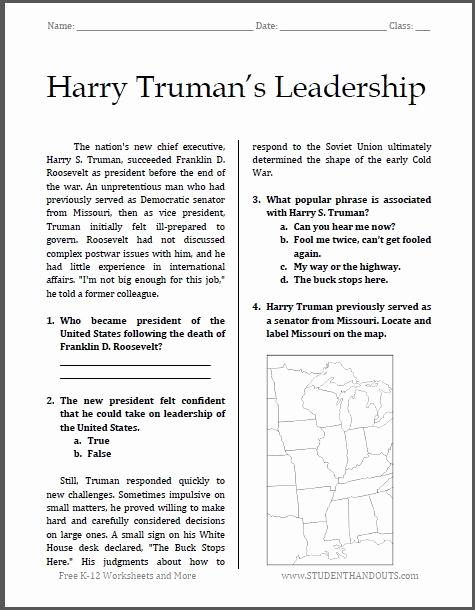 Free Us History Worksheets Luxury Harry Truman S Leadership
