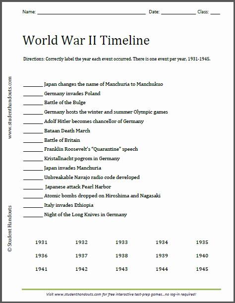 Free World History Worksheets Awesome World War Ii Timeline Worksheet