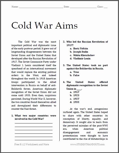 Free World History Worksheets Elegant Cold War Aims