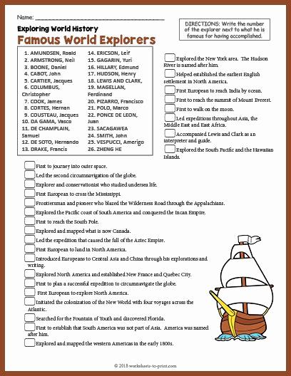 Free World History Worksheets Elegant Free Printable Famous World Explorers History Worksheet