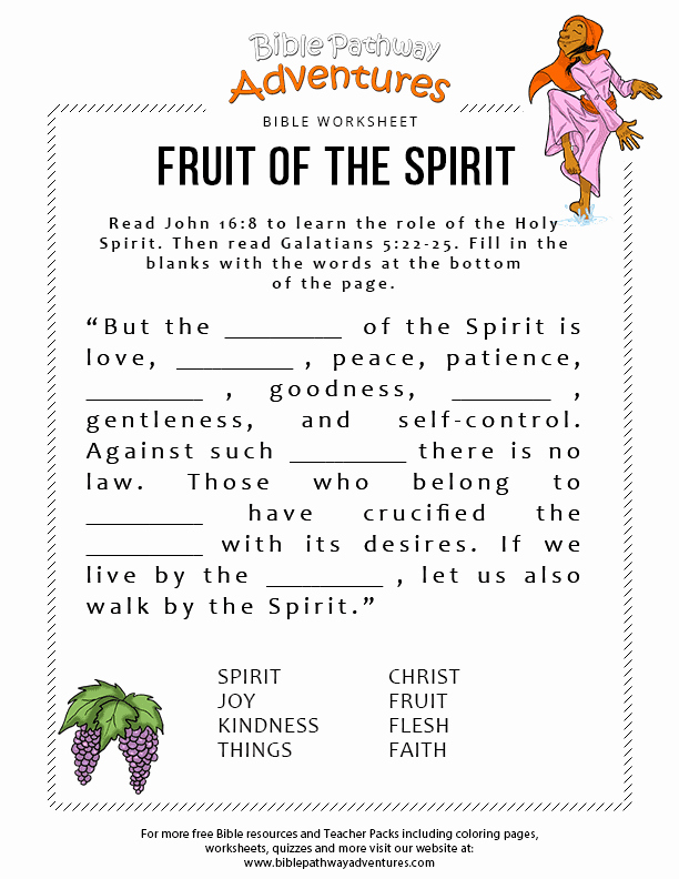 Fruits Of the Spirit Worksheets Best Of Fruit Of the Spirit – Bible Pathway Adventures