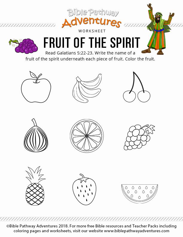 Fruits Of the Spirit Worksheets Fresh Fruit Of the Spirit