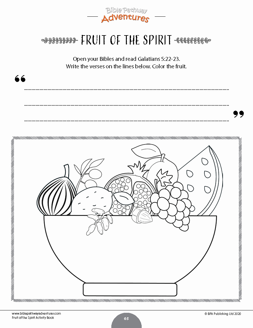Fruits Of the Spirit Worksheets Inspirational Fruit Of the Spirit Coloring Activity Book – Bible Pathway