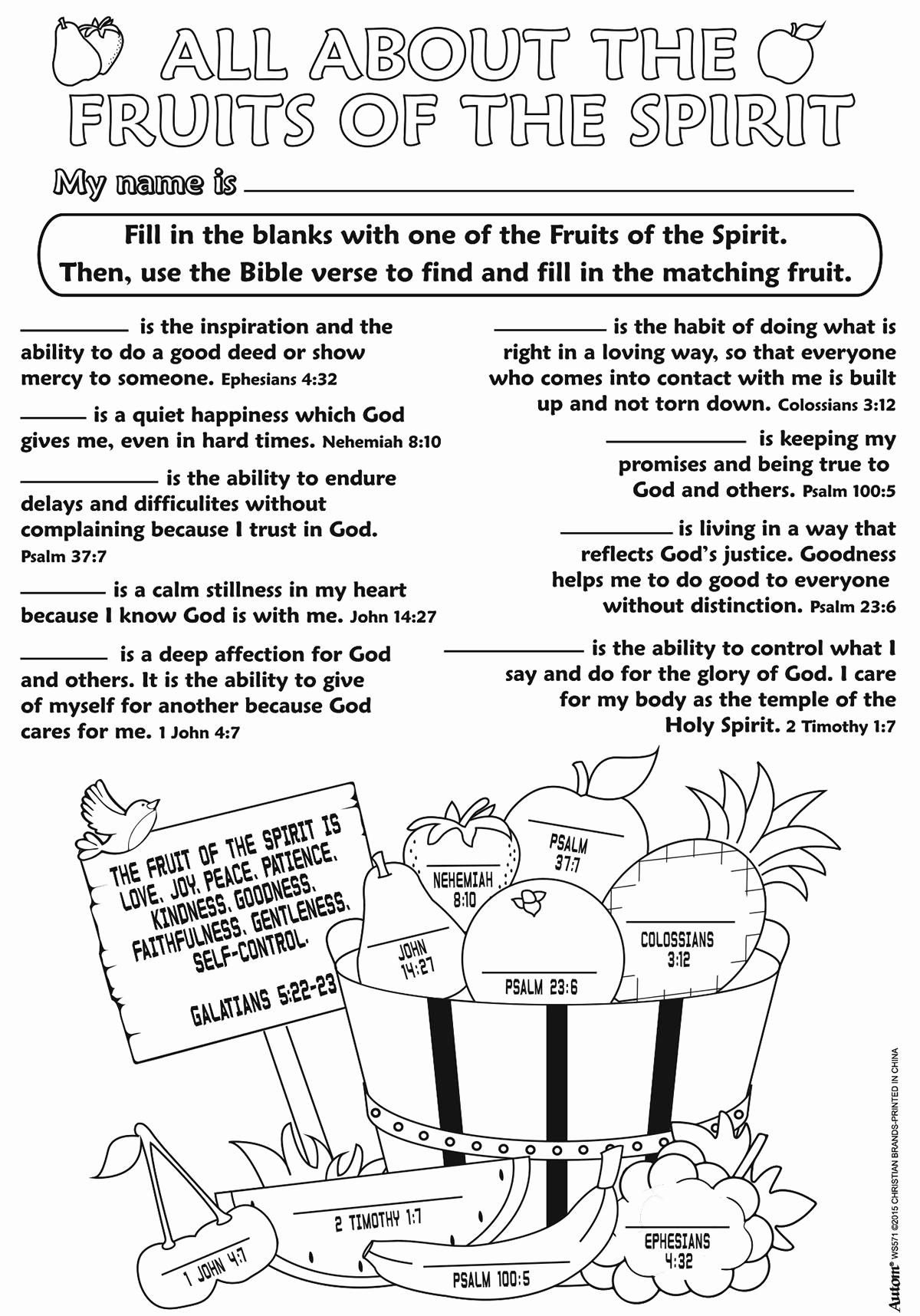 Fruits Of the Spirit Worksheets Lovely Color Your Own Posters Fruits Of the Spirit Color Your