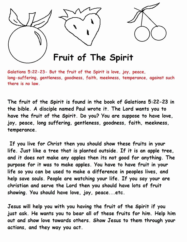 Fruits Of the Spirit Worksheets Unique Fruit Of the Spirit Activities Yahoo Image Search