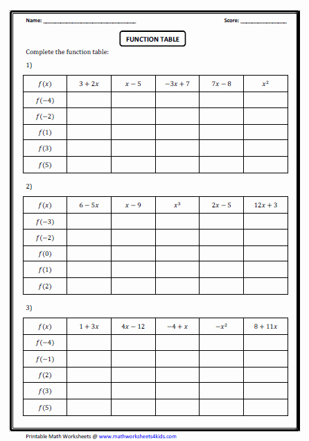 Function Table Worksheet Answer Key Best Of Function Worksheets