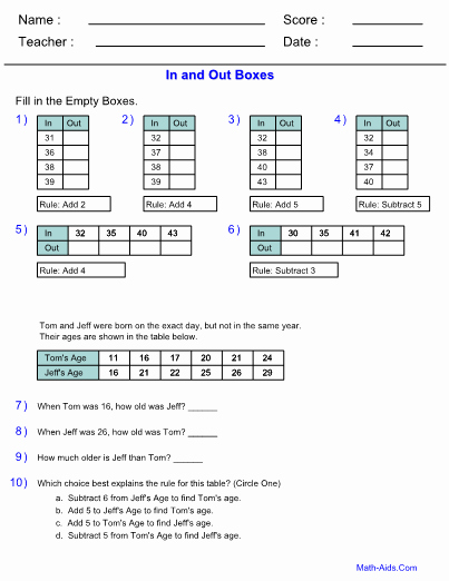Function Table Worksheet Answer Key Lovely Function Table Worksheet Answer Key