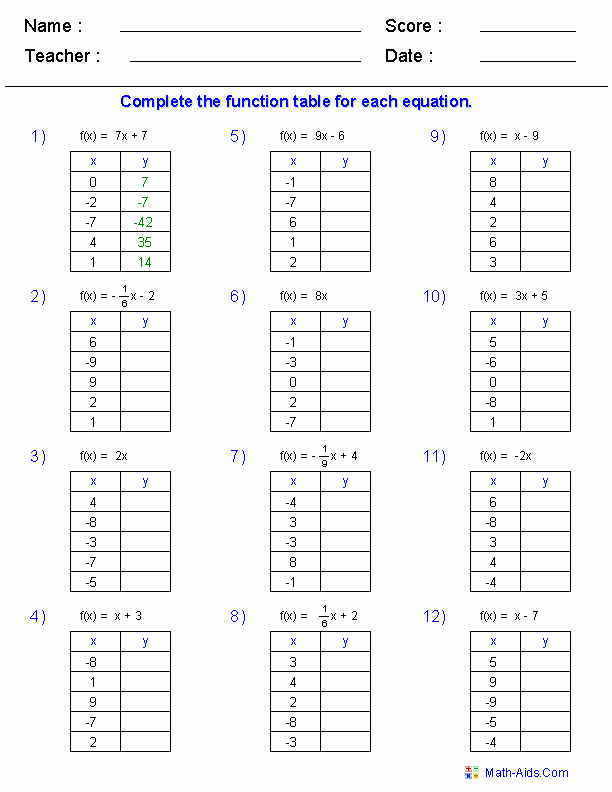 Function Table Worksheet Answer Key Luxury 13 Best Of Pre Algebra Functions Worksheet