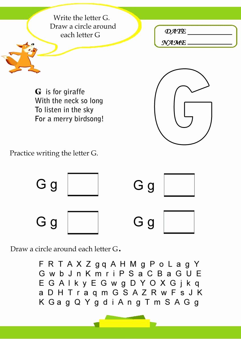 G Worksheets for Preschool Best Of Alphabet Letter G Worksheet Preschool Crafts