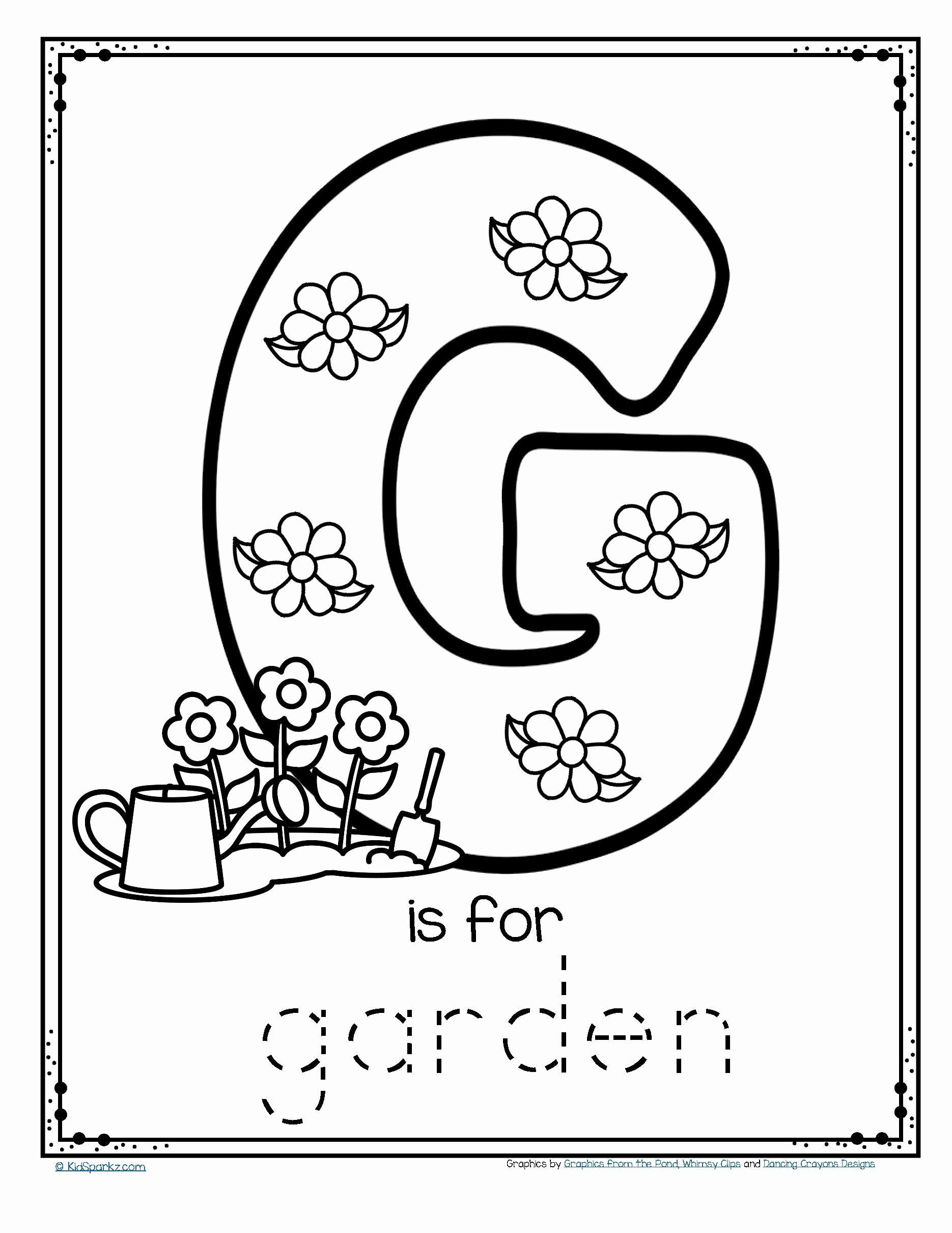 G Worksheets for Preschool Elegant Free G is for Garden Trace and Color Fine Motor Printable