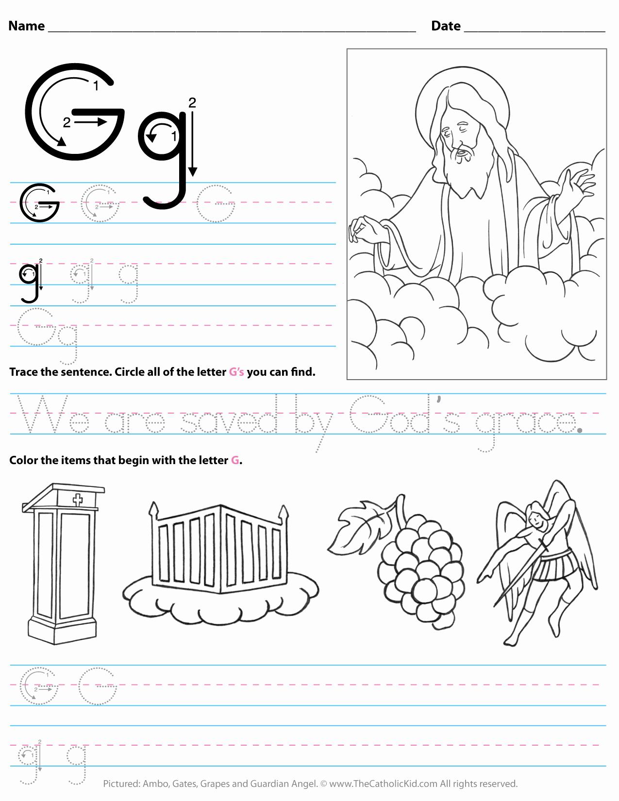 G Worksheets for Preschool Luxury Catholic Alphabet Letter G Worksheet Preschool