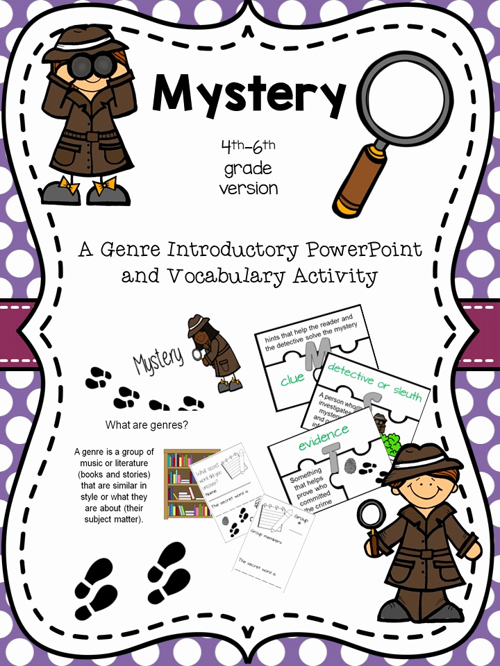 Genre Worksheets 4th Grade Awesome Mystery Genre Intro and Activity for 4th 6th From atbot