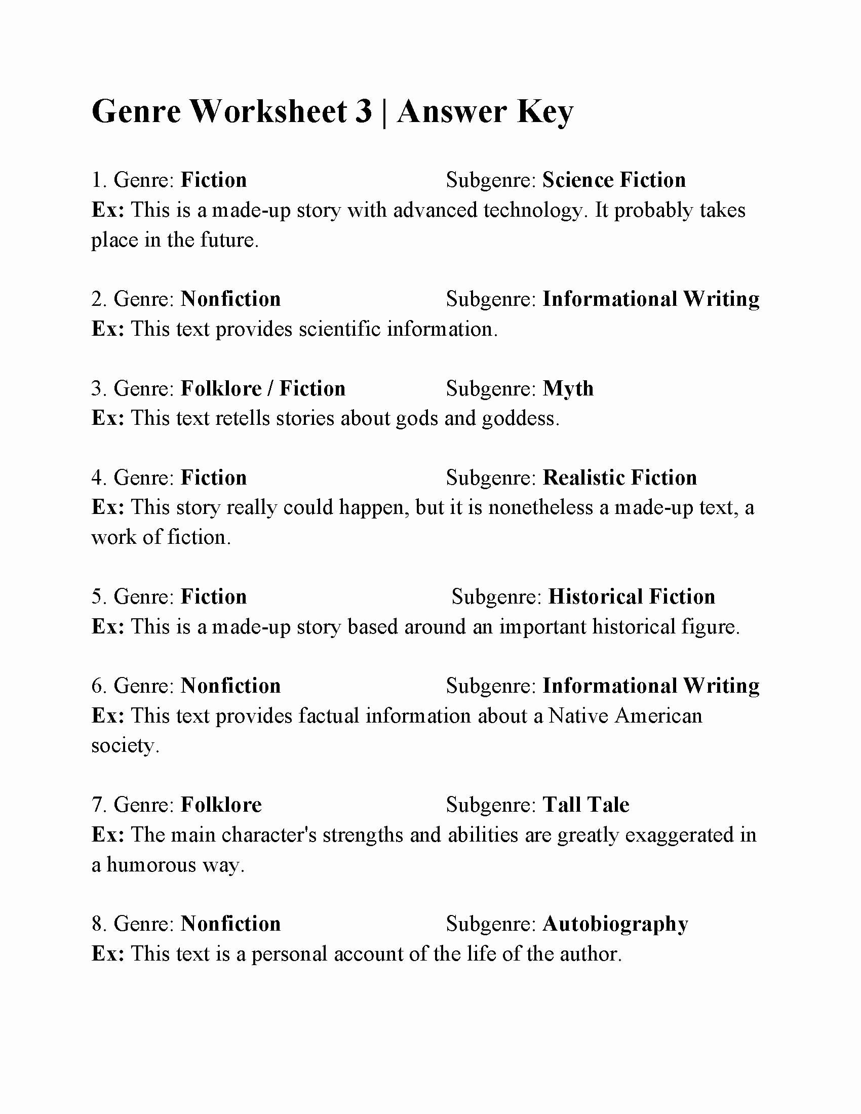 Genre Worksheets 4th Grade Elegant Genre Worksheet 3