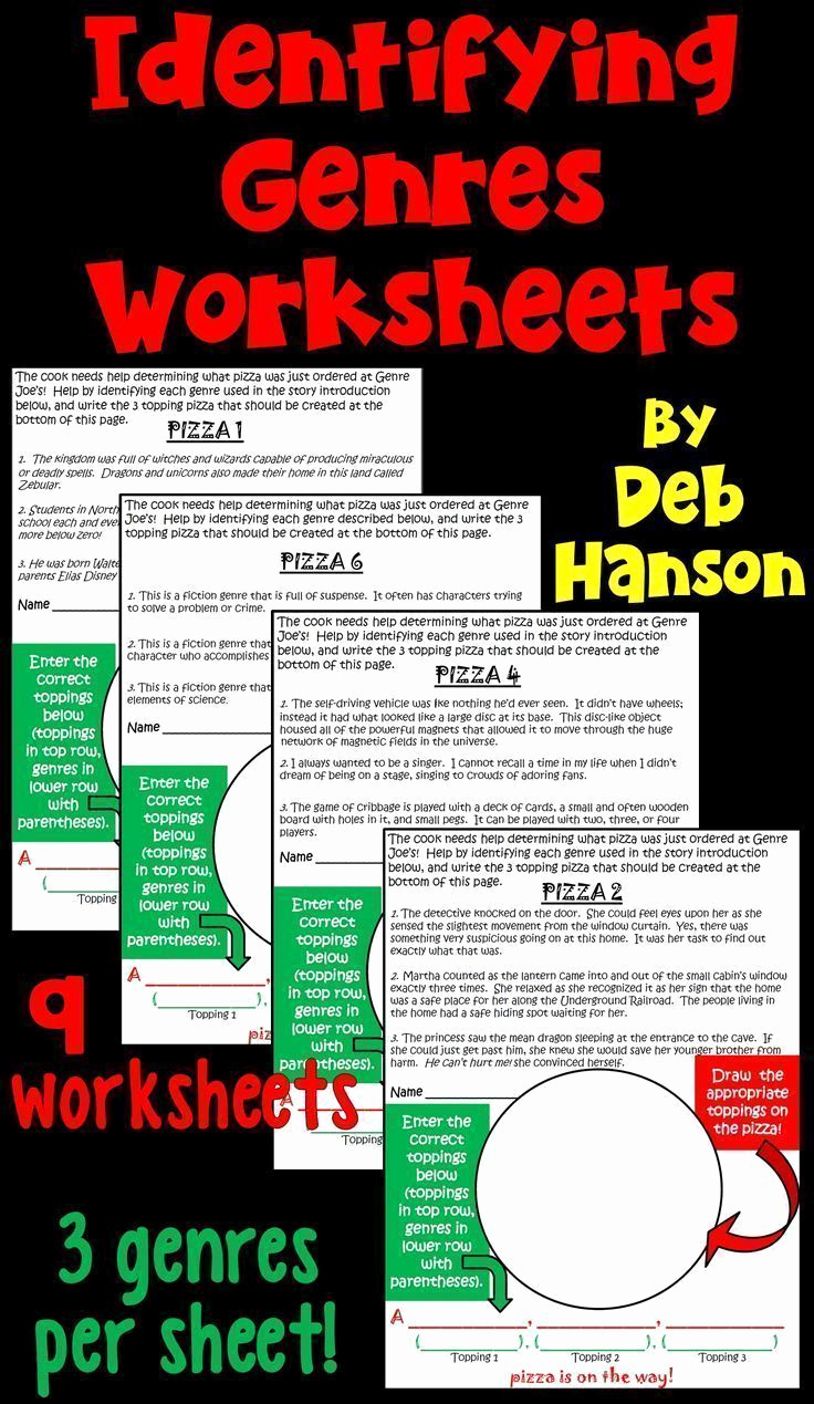 Genre Worksheets 4th Grade New Genres Identification Activity Game Featuring Pizza