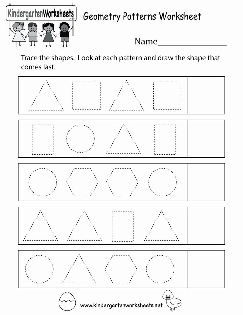 Geometric Shape Pattern Worksheets Beautiful Free Printable Geometry Patterns Worksheet for Kindergarten