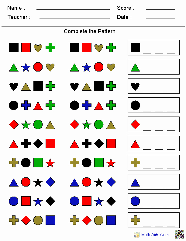 Geometric Shape Pattern Worksheets Fresh Patterns Worksheets