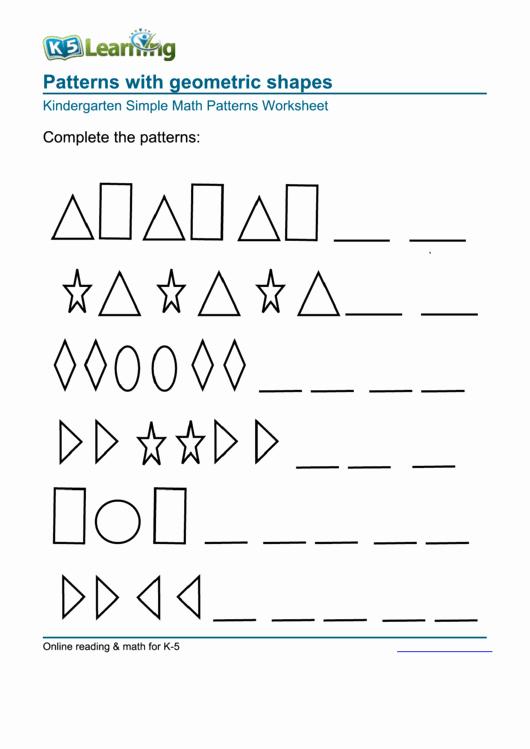 Geometric Shape Pattern Worksheets Inspirational Patterns with Geometric Shapes Kindergarten Simple Math